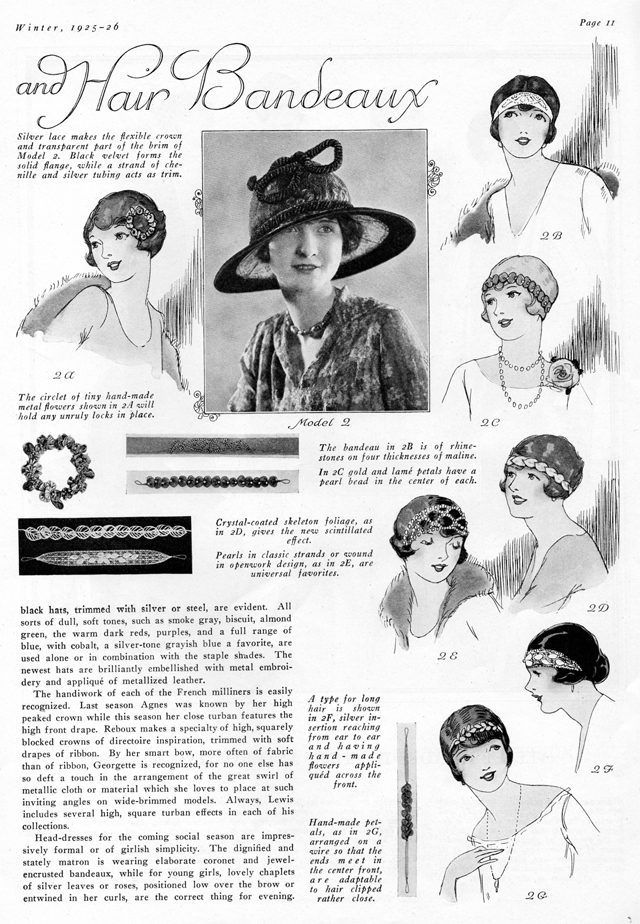 crystal and jeweled bandeaux for evening wear, chaplets for young girls, winter 1925 1926