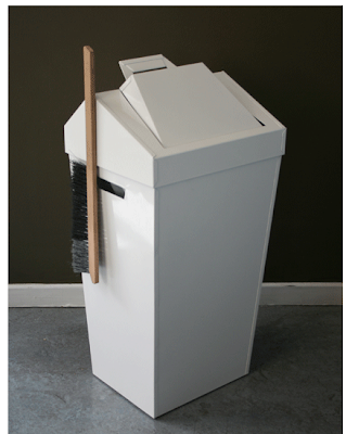 steel metal wastebasket with dustpan lid
