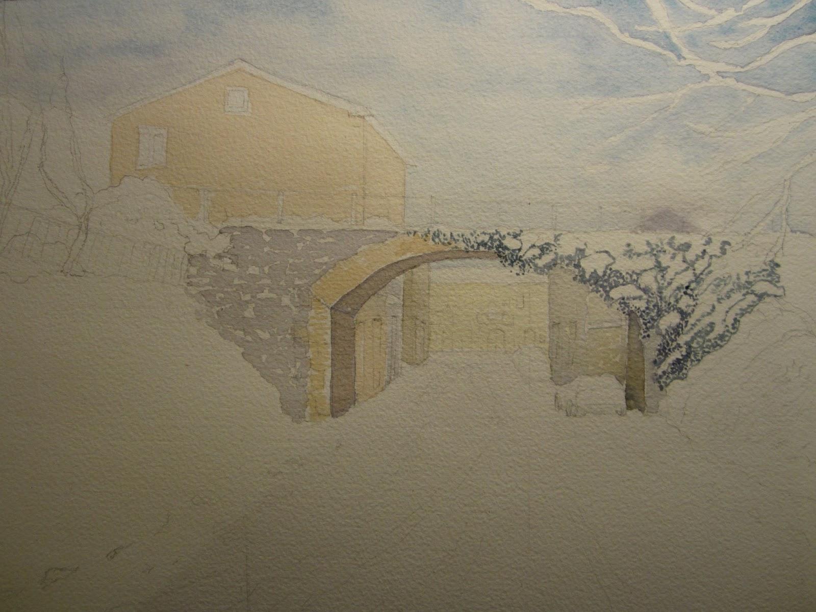 Prima lezione di acquerello del 2013 paesaggio invernale casacalendese  CIAM