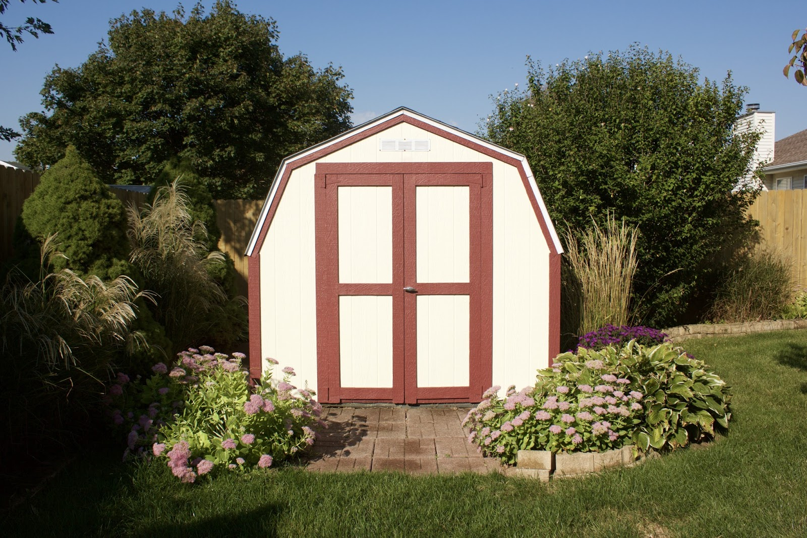 landscaping around a shed