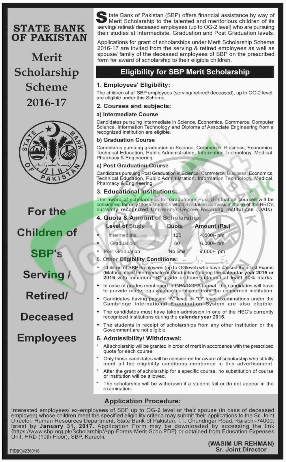 State Bank of Pakistan SBP Merit Scholarship 2017 Download ...
