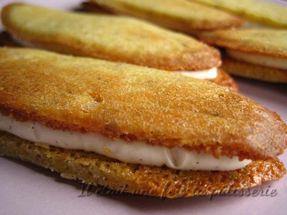 Sandwich de langues de chat pistache et vanille