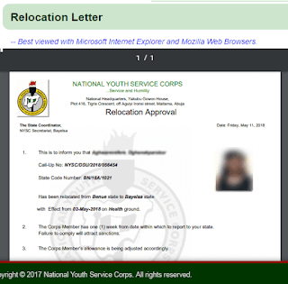 NYSC Relocation or redeployment