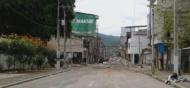 Portoviejo Córdova, mirando hacie el centro de la ciudad.