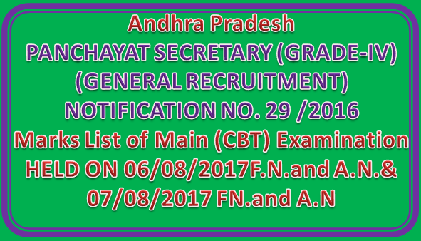 PANCHAYAT SECRETARY (GRADE-IV) - District wise Marks List of Main (CBT) Examination