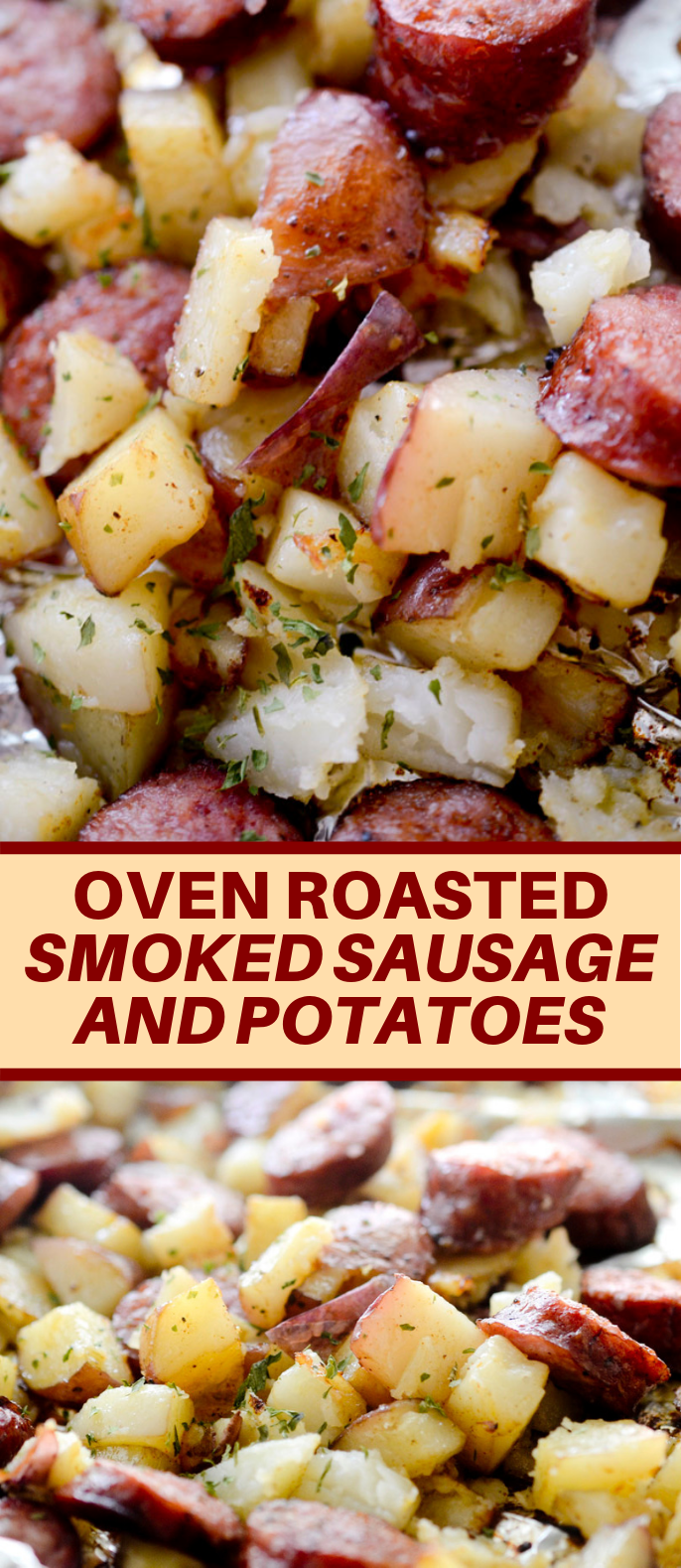 OVEN ROASTED SMOKED SAUSAGE AND POTATOES #veggies #easymeal
