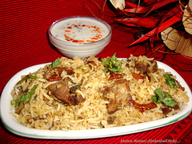 images of Hyderabad Mutton Biryani/Goat Meat Dum Biriyani (Hyderabadi/Hyderabad Style Mutton Dum Biryani)