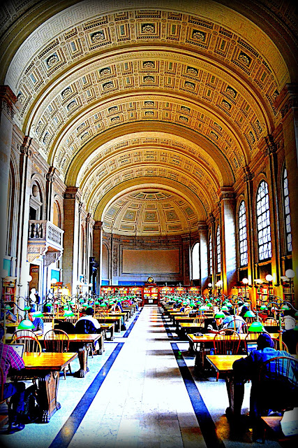 Bates Hall, Reading Room, Boston Public Library, Boston, Massachusetts, paper