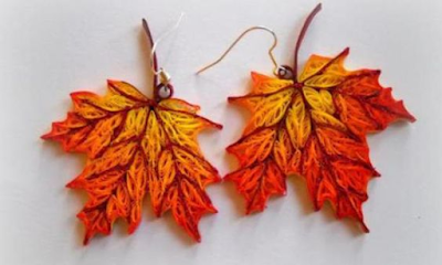 Leaf quilling earring designs for girls - quillingpaperdesigns