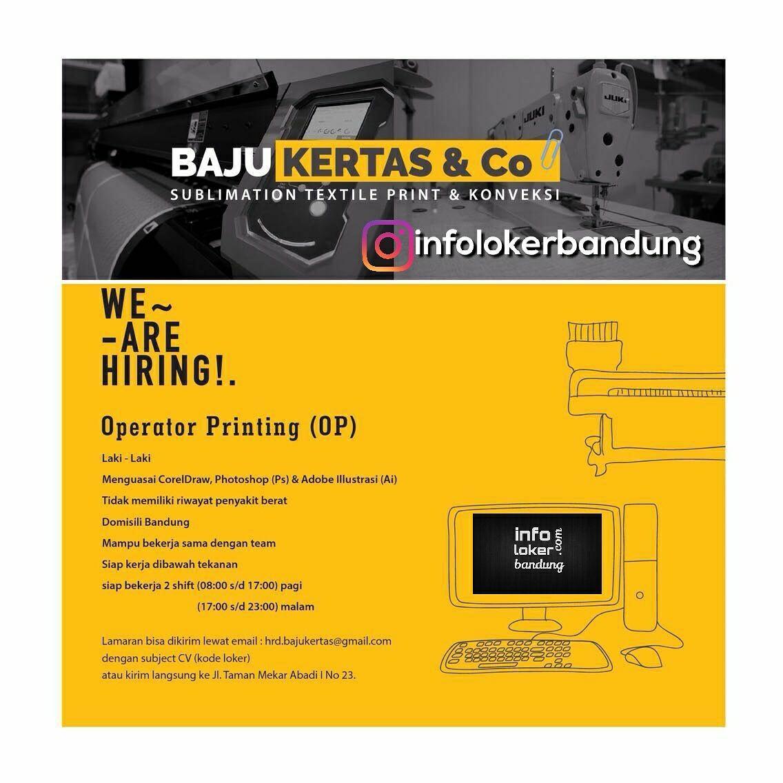 Lowongan Kerja Baju Kertas & Co Bandung September  2017