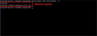 Kita cek dulu apakah hostname nya kedua-duanya sama atau tidak dengan perintah hostname && hostname -f