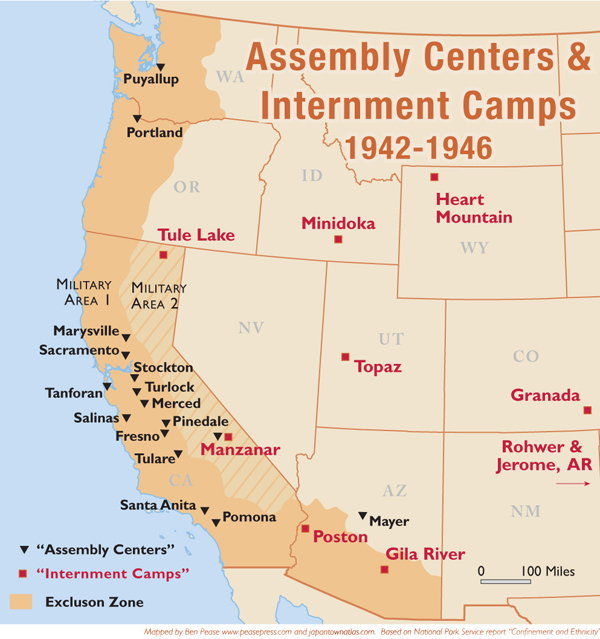 California Historical Society January - Us concentration camps ww2 map
