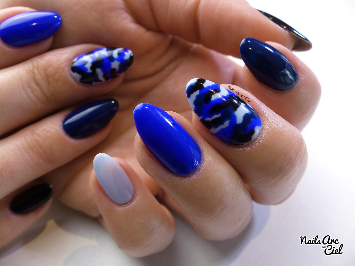 Nails Arc En Ciel Nail Art Camouflage Militaire Bleu Sans Mat 233 Riel