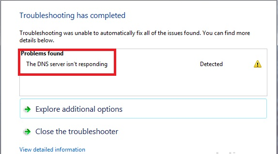 my pc dns server is not responding