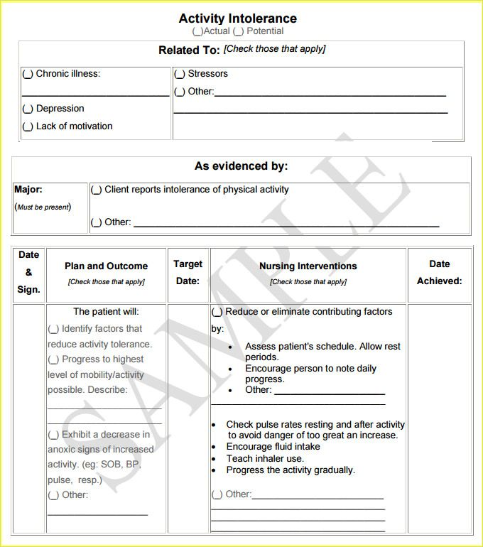 Nursing Care Plan Template Free Download – Care Plan Template
