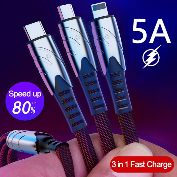 Multi Fast Charge Charger Micro USB Cable 2 In 1