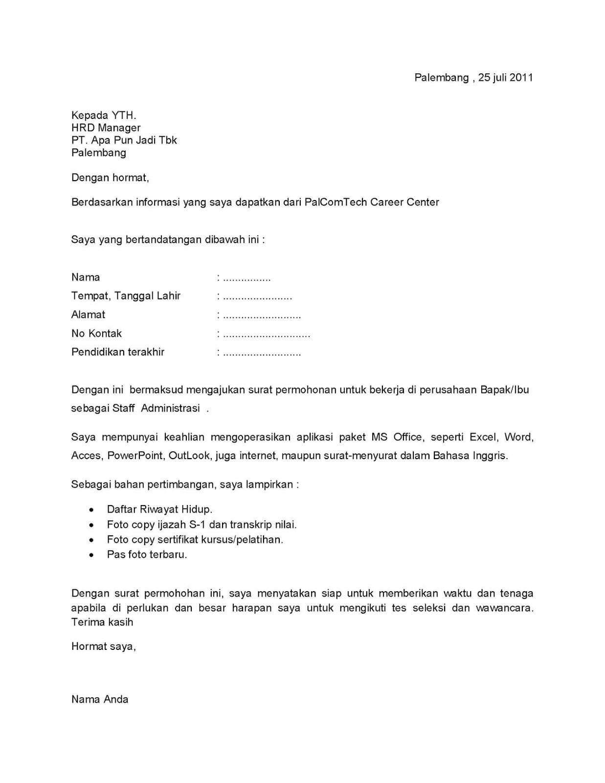 Contoh Surat Lamaran Kerja Di Spbu Pertamina