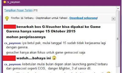 Mulai 15 Oktober 2015, Cash Gemscool Tidak Bisa Lagi Dipakai Isi Cash Garena Indonesia