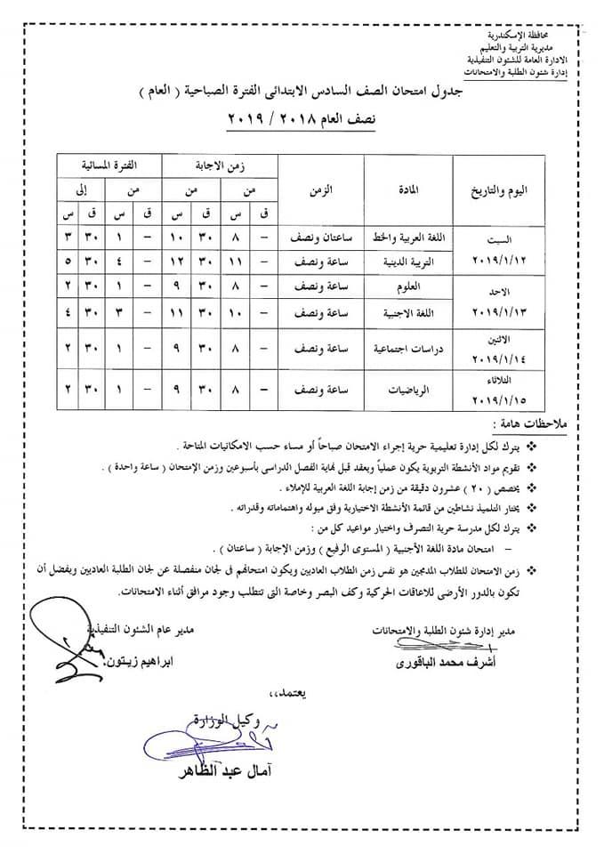 جدول امتحانات الصف السادس الابتدائي محافظة الأسكندرية 2019 نصف العام