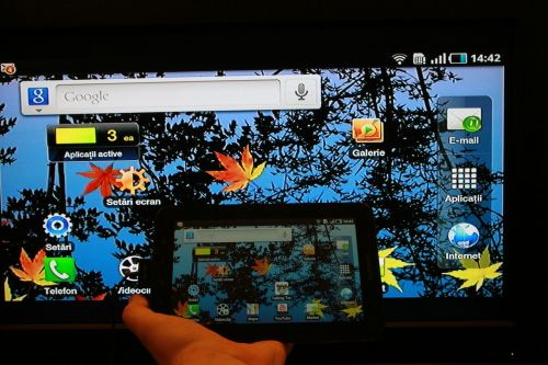 Smartphone or tablet screen-mirrors on television
