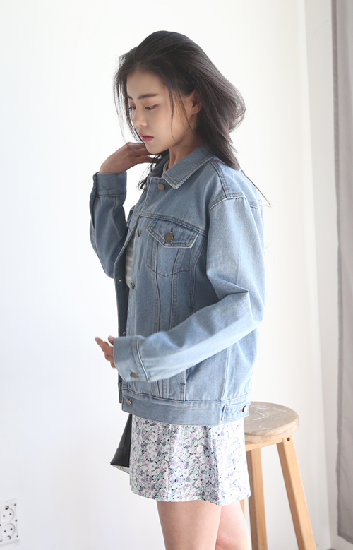 Buttoned Tab Denim Jacket
