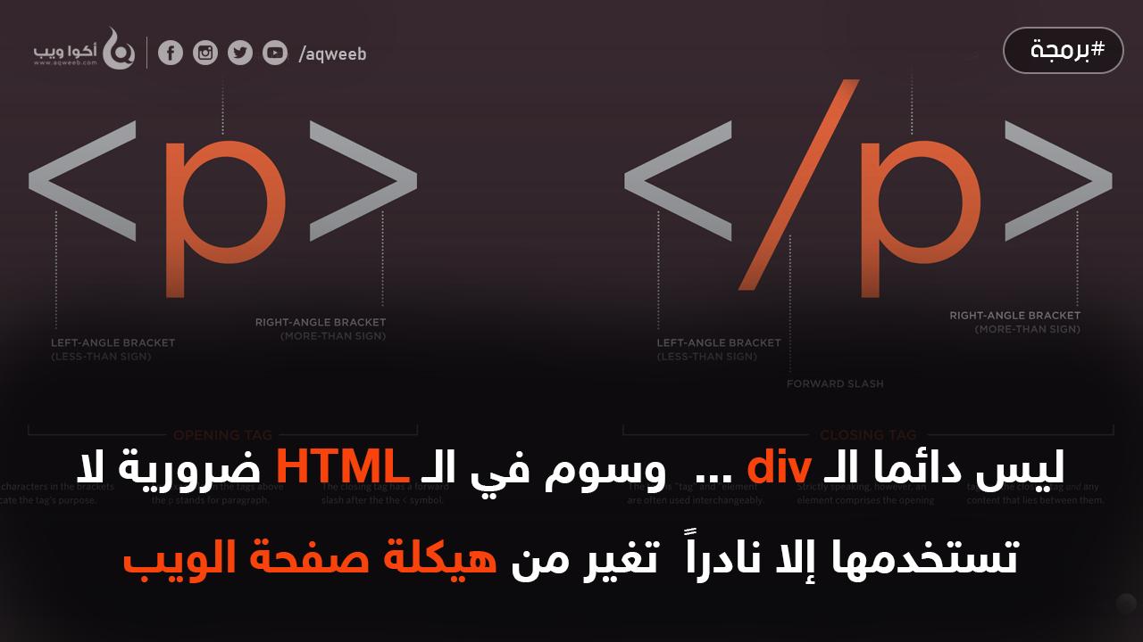ليس دائما الـ div ...  وسوم في الـ HTML ضرورية لا تستخدمها إلا نادراً