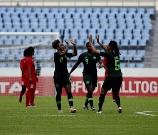 The Super Falcons were on a goal-scoring spree on Saturday as they decimated Equatorial Guinea 6-0 in their final group game at the ongoing Women's Africa Cup of Nations in Ghana.