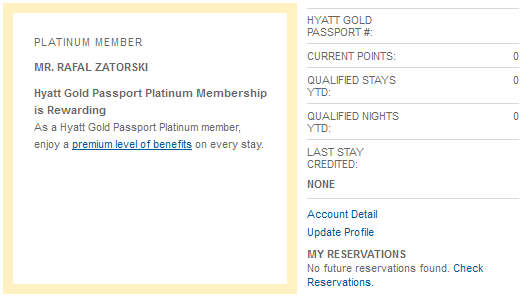 Hyatt Gold Passport status Platinum