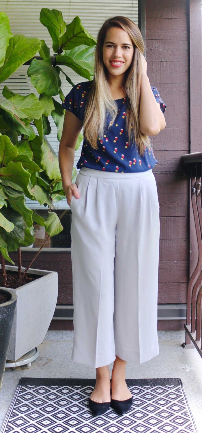 Jules in Flats - J.Crew Culottes with Polka Dot Top