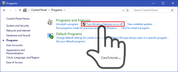 Trun Windows features on or off Control Panel Windows 10 8