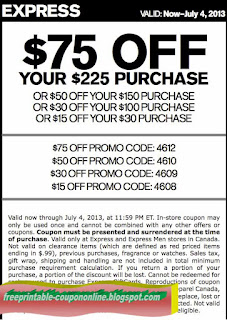 image relating to Express Coupons Printable 30 Off 75 called Printable Discount coupons 2019: Categorical Coupon codes