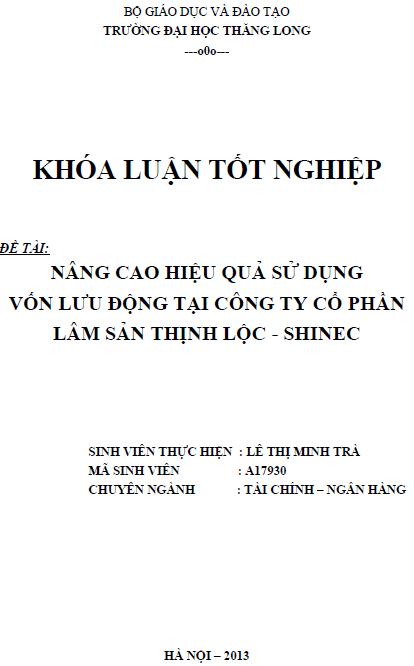 Nâng cao hiệu quả sử dụng vốn lưu động tại Công ty Cổ phần Lâm sản Thịnh Lộc – SHINEC