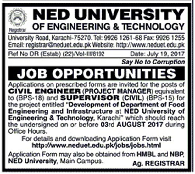 Jobs In Ned University Of Engineering And Technology Karachi July 2017
