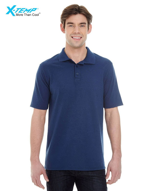 Hanes 055P Mens X-Temp Pique Short-Sleeve Polo- Navy – S