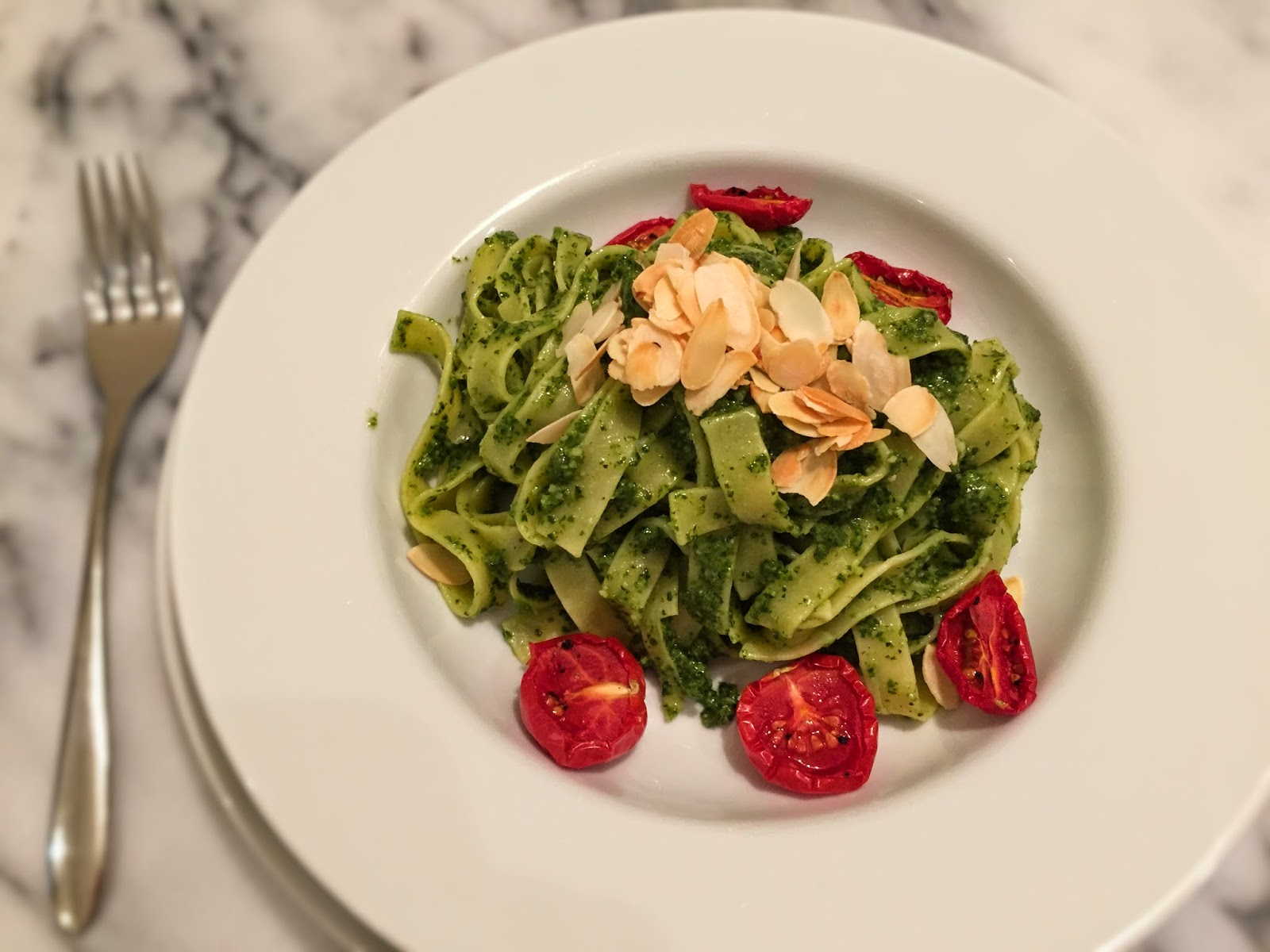 Fettuccine with kale and almond pesto