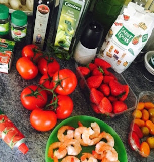gaspacho, tomate, fraise, gambas, crevette, thermomix, recette, folle blogueuse