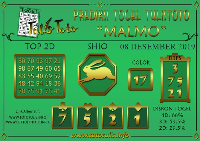 Prediksi Togel MALMO TULISTOTO 08 DESEMBER 2019