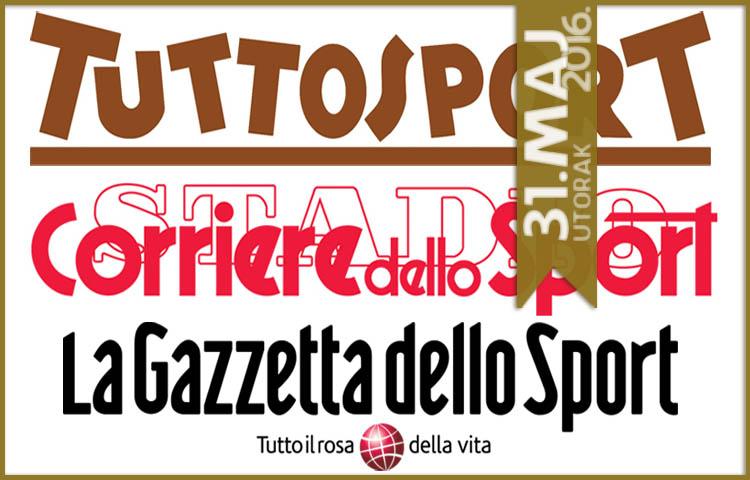 Italijanska štampa: 31. maj 2016. godine