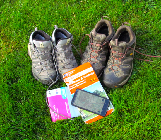Photograph of boots, maps, and app by Hertfordshire Walker Released under Creative Commons BY-NC-SA 4.0Photograph from one of the walks by Hertfordshire Walker Released under Creative Commons BY-NC-SA 4.0