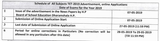 image : HP TET 2019 Tentative Schedule June 2019 @ TeachMatters