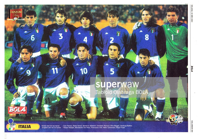 ITALY SOCCER TEAM SQUAD 1999