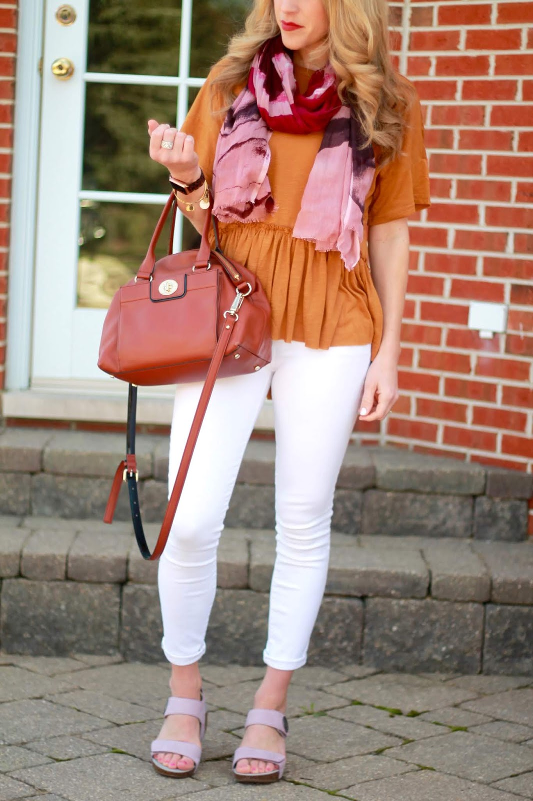 ABEO wedges, peplum short sleeve top, white denim, purple scarf, cognac crossbody, blush wedges