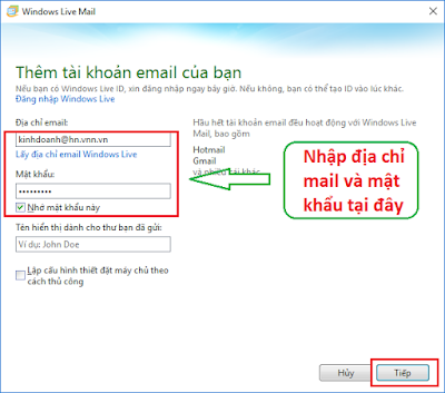 Cấu hình windows live mail 2012 - H07