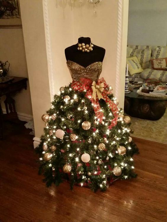 Beautiful Christmas Trees Made From Dress Form