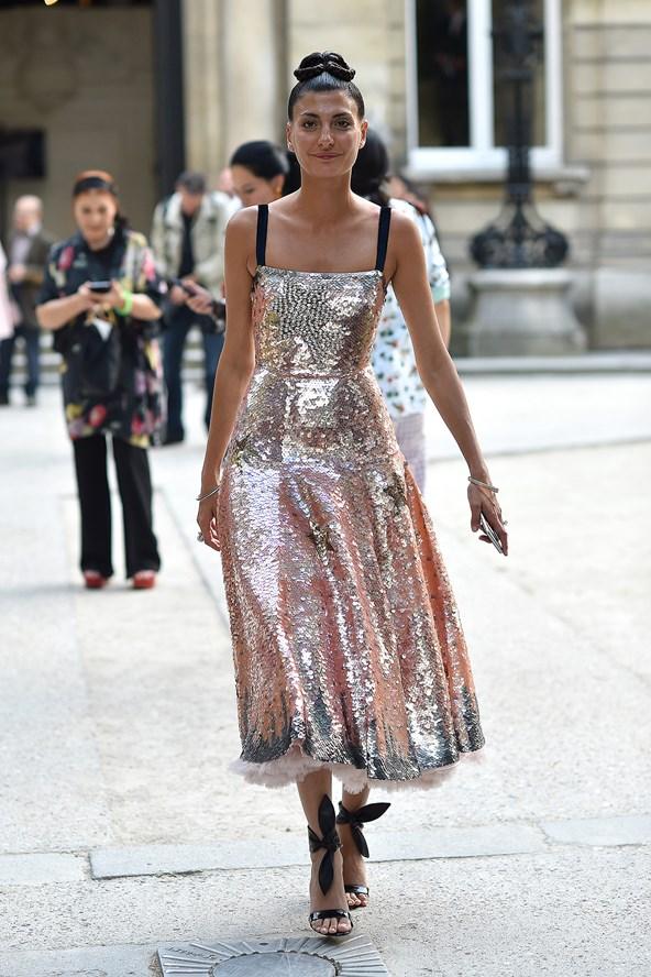 Street Style + Cocktail Dress + Giovanna Battaglia + PFW