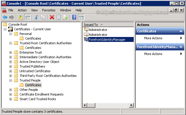 ForefrontIdentityManager certificates