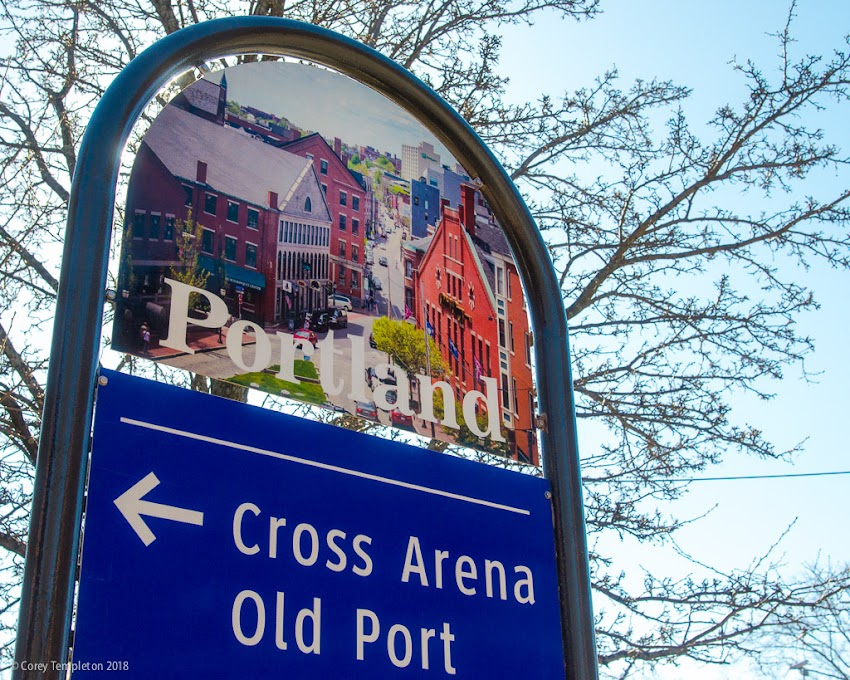 Portland, Maine USA March 2018 photo by Corey Templeton. Eagle-eyed followers may recognize my photos around town on all the sharp new City of Portland, Maine wayfinding signs. Here's one on State Street.