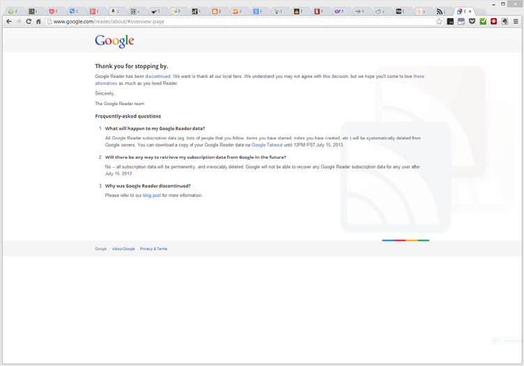 Techunboxed: Goodbye Google Reader