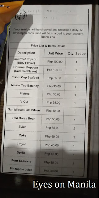 Golden Phoenix Hotel Mini Bar Price List