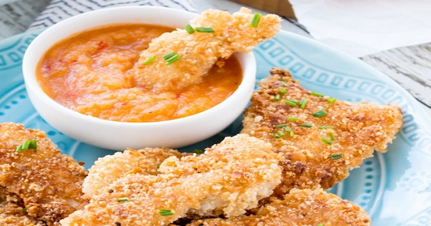 Crispy Coconut Chicken Tenders {With Sweet And Spicy Dipping Sauce} Recipe